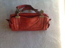 Dolce Gabbana Leather Purse Handbag Shoulder D&G Bag -Brick Red - EUC