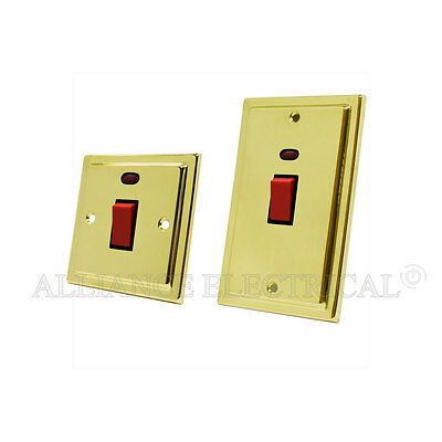 45 Amp Cooker Switch /& Socket Victoria Brass with Neons Double Oven Electric