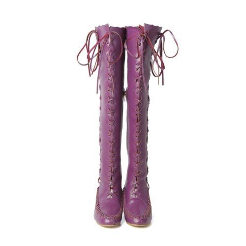 Plus-Taille Femme Bout rond lacets zip Cuissardes Hidden Wedges Chaussures à talon