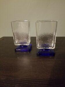 Set-Of-Disaronno-Footed-Rocks-Glasses-Square-Base-Textured-Cobalt-Blue-Glass