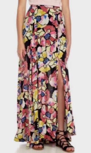 Free People OB574888 Hot Tropics Floral Printed Maxi Skirt Black