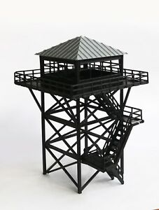 Outland-Models-Railway-Scenery-Watchtower-Lookout-Tower-Black-HO-Scale-1-87