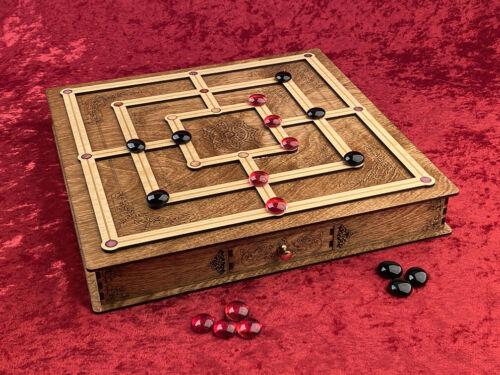 Nine Men/'s Morris Stunning Hand Made Gaming Centerpiece Ancient Celtic Version