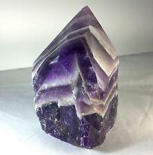 """CA5 Big 3.4"""" (415 Gr) Partially Polished Chevron Amethyst Quartz Crystal Point"""