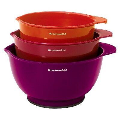 KitchenAid 3 Piece Plastic Mixing Bowl Set - Assorted Color