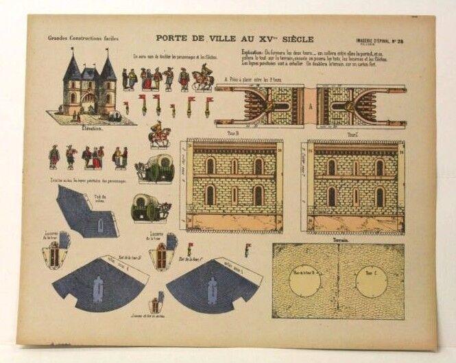 Imagerie d'epinal no 28 porte de Ville (ciudad Gate) Modelo de papel construcción de juguete