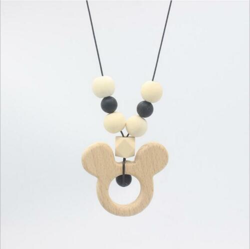 Baby Teether necklace Safety Wooden Molar stick Beads Baby Chew molars Toy