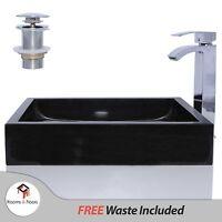 Black Marble Stone Retangular Wash Basin / Sink - 50 Cm + Free Waste