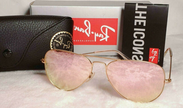 ray ban aviator gold frame pink mirror lens