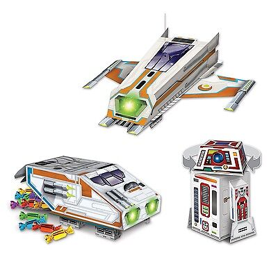 Pack of 3 Space Table Centerpiece - Spaceship Robot - Party Tableware Decoration