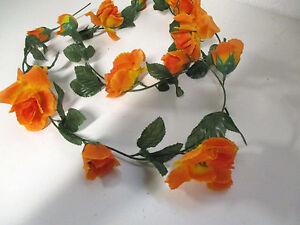 Blumen & Künstliche Pflanzen Möbel & Wohnen Seidenblumen Girlande Rosengirlande orange Deko Rosen Blumen künstlich wie echt