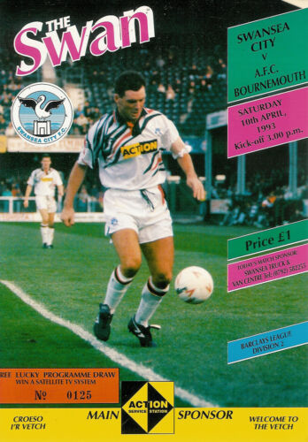 Swansea City v Bournemouth 10 Apr 1993 FOOTBALL PROGRAMME