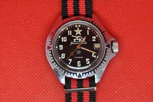 Vintage-Zakaz-MO-USSR-VOSTOK-KOMANDIRSKIE-Military-Watch-Tank-Schwarz-Zifferblatt-2414a