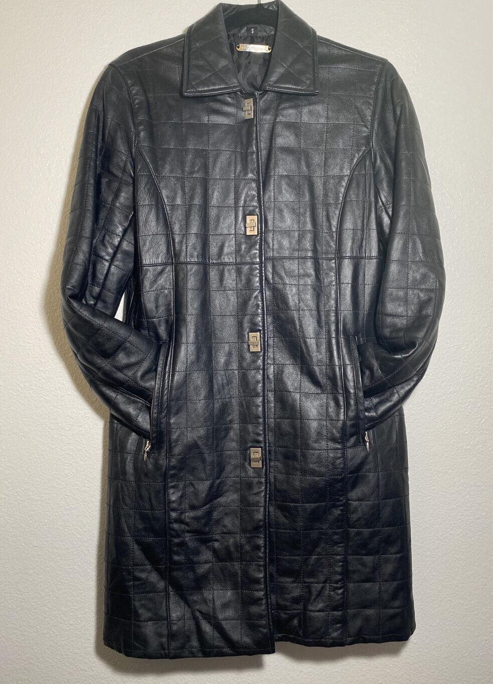 Brandon Thomas Women's Full Length Leather Jacket Size S