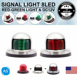 2X 8 LED Marine Bow Boat Yacht Navigation Green Red Light 12V Stainless Steel US