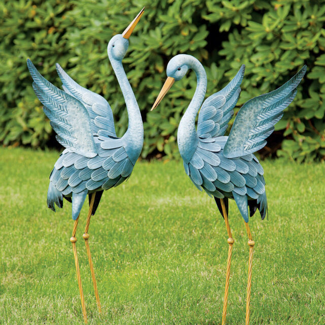 Blue Heron Statues Crane Bird Sculpture Outdoor Metal Yard Art Lawn Decor Garden