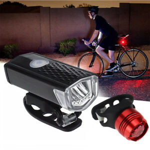 Bike-Bicycle-Lights-USB-LED-Rechargeable-Set-Mountain-Cycle-Front-Back-Lamp-LOT