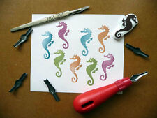 Sea Horse Rubber Stamps, Hand Carved, Hand Made, Stamping Supplies