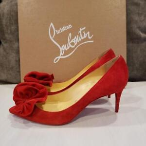 fc78d45dba88 Image is loading Christian-Louboutin-ANEMOSEA-554-Rosette-Flower-Suede-Pump-