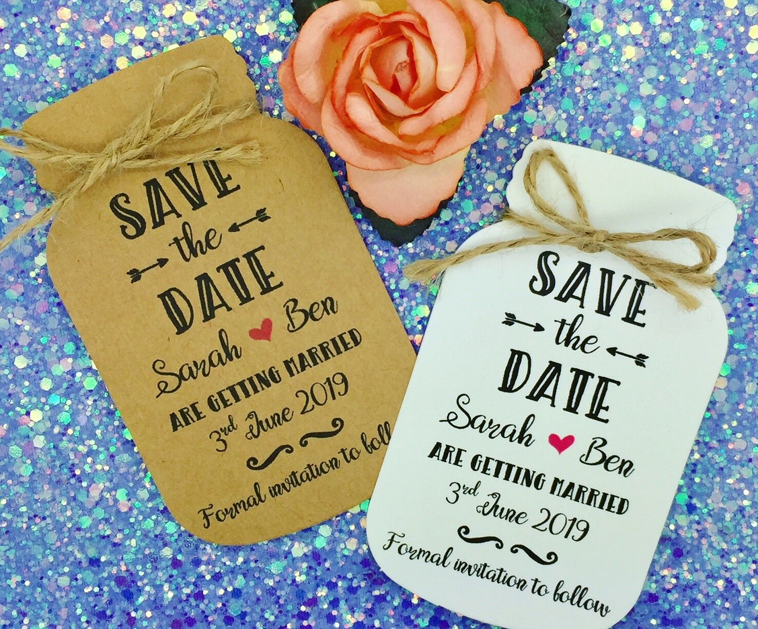 Mason Jar Save The Date   Evening Card Wedding Invitation with Envelop