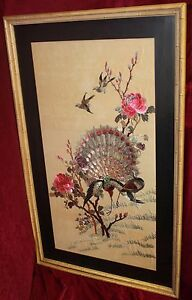 Antique-Embroidered-Asian-Silk-Panel-Mounted-and-Framed