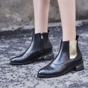 Womens-Punk-Ankle-Boots-Pointed-Toe-Block-Low-Heel-Side-Zip-Plus-Size-Booties