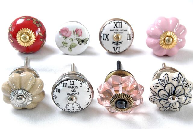8 x Mixed Shabby Chic Boho Ceramic Cupboard Knobs Kitchen Cabinet (MG-157)