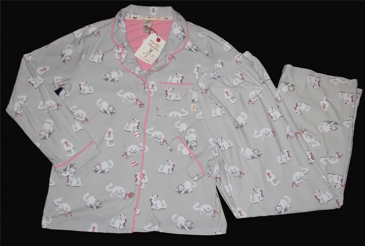 2 Pc Munki Munki White Cats on Grey L S Luxuriously Soft Pajama Set Wms NWT