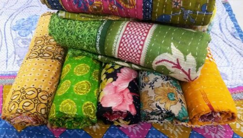 Wholoesale Lot Indian Vintage Cotton Handmade Kantha Quilt Unique Bedcover Gudri
