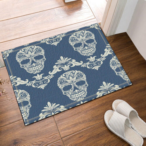 Sugar Skull On Blue Background Polyester Fabric Bathroom Shower Curtain 71Inches