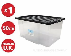 Image is loading 50-LITRE-PLASTIC-STORAGE-BOX-STRONG-BOX-WITH-  sc 1 st  eBay & 50 LITRE PLASTIC STORAGE BOX STRONG BOX WITH BLACK LID - CATERS FOR ...