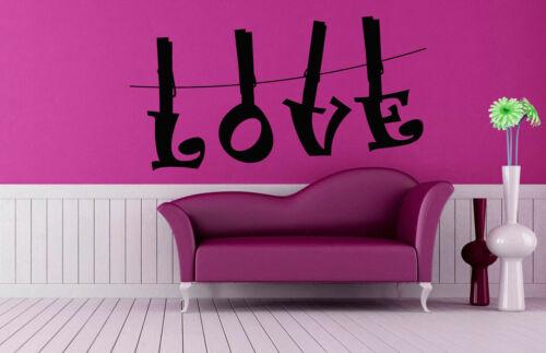 Wall Decal Room Sticker Bedroom Love pins romance cute beautiful nursery bo2956