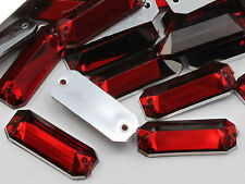 19x7mm Red Ruby CH17 Baguette Flat Back Sew On Craft Gems - 50 Pieces