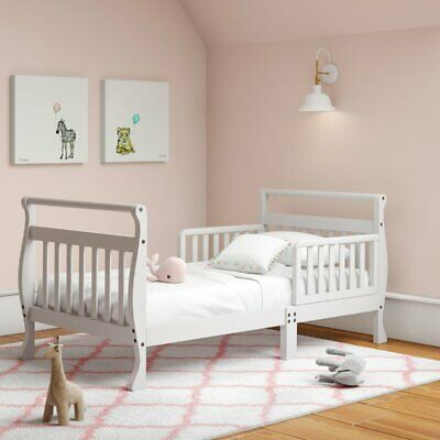Baby Toddler Beds Wood Frame White Platform Kids w /Rails ...