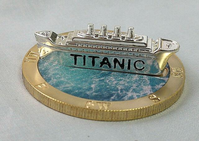 Titanic 3D Silver Ship Gold Coin Compass Sank 1912 Ocean Liner Film Cruise Model