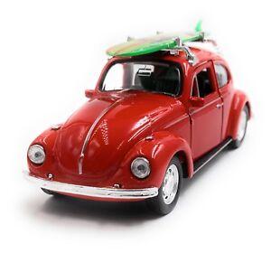 VW-Coccinelle-Beetle-Hardtop-Maquette-de-Voiture-Auto-Surf-Rouge-Echelle-1-3-4