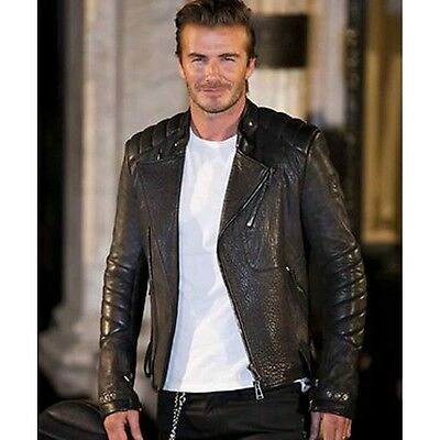 David Beckham Quilted Biker Black Washed Real Leather Jacket in All sizes