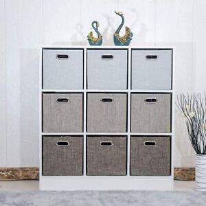 Large Foldable Storage Folding Box Fabric Cube Oval Handle 4 Piece Set Organiser
