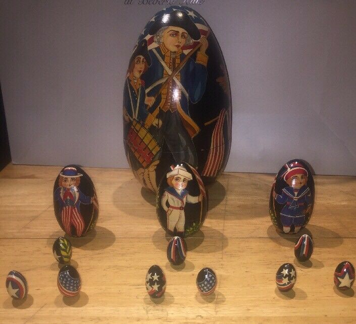 American Revolution Patriot Egg Nesting Dolls Hand Painted Made In Russia Signed