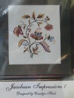 Jacobean Impressions Floral Embroidery Crewel Kit - Silk Wool Linen By Hook
