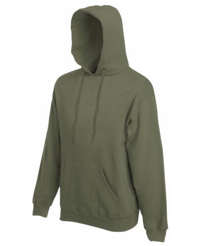 Classic Olive Adult Fruit of the Loom Plain Hooded Sweatshirt Pullover Hoodie