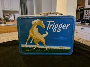 Vintage Trigger Metal Lunch Box Roy Rogers 1956 NO RESERVE C8