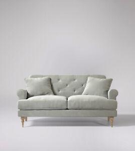 Swoon Sidbury MTO Stylish Ice Grey Easy Velvet Two Seater Sofa - RRP £1499