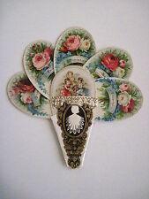 Vintage Victorian Valentine Die Cut Fan Card w/Three Angels & Many Roses *