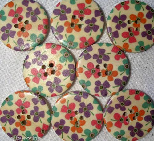 BOUTON BOIS ** 30 mm // 3 cm ** Fleurs Qté au choix de 2 à 6 boutons 30//034