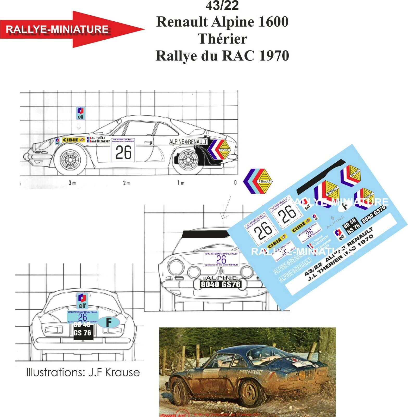 DECALS 1 43 REF 4322 ALPINE RENAULT A110 THERIER RAC RALLY 1970 GREAT BRITAIN
