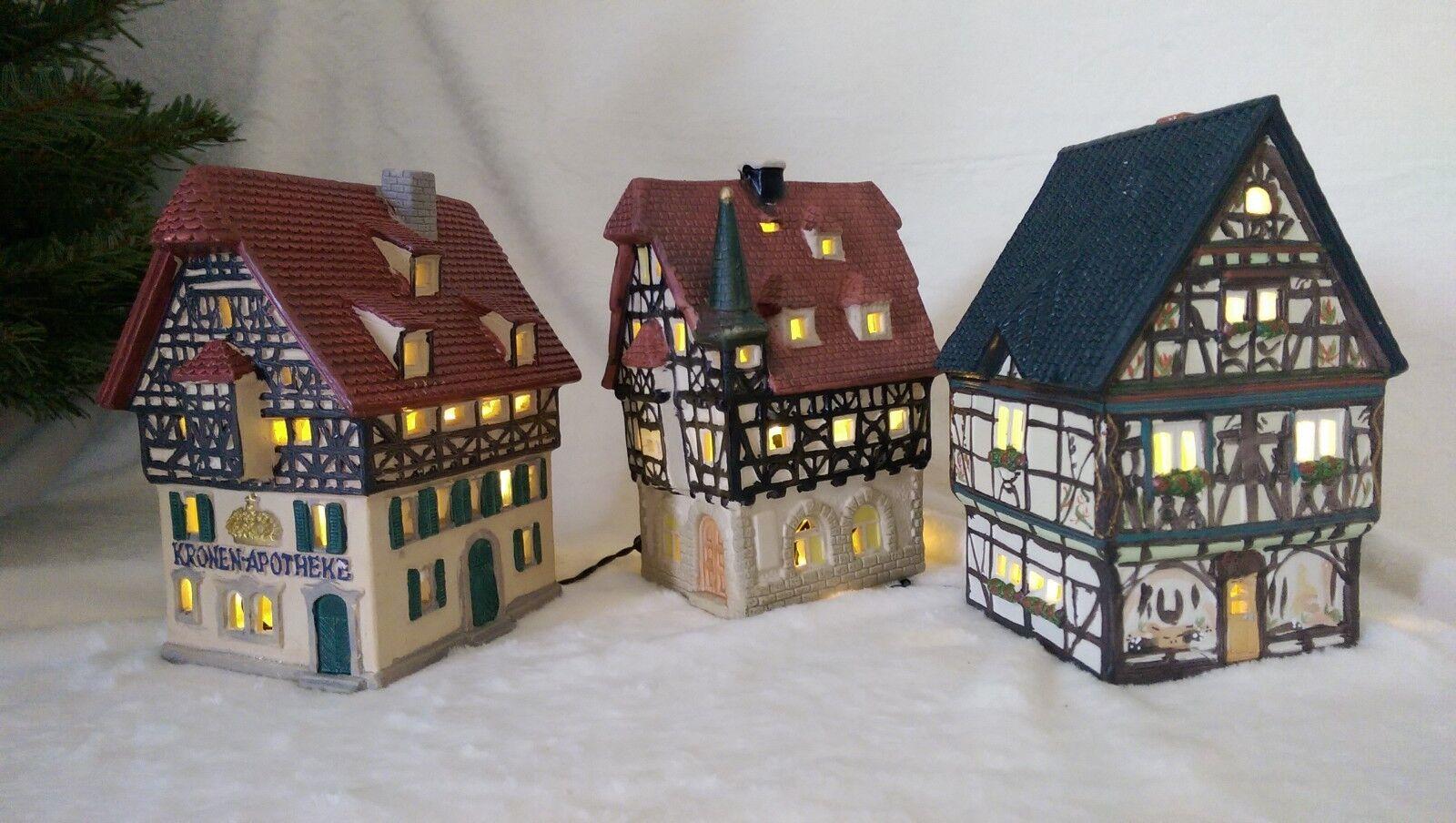 3 Stk Lichthaus   Teelicht   Leuchthaus G Wurm Porzellan handbemalt neuwertig