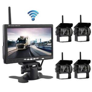 4-x-Funk-Nachtsicht-Kamera-Rueckfahrkamera-7-034-Auto-Monitor-LKW-Rueckansicht-Kit