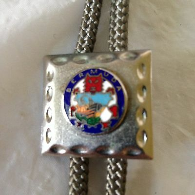 Bolo String Tie Enameled Bermuda Ship on Silvertone Square w/ Gray Cord Souvenir