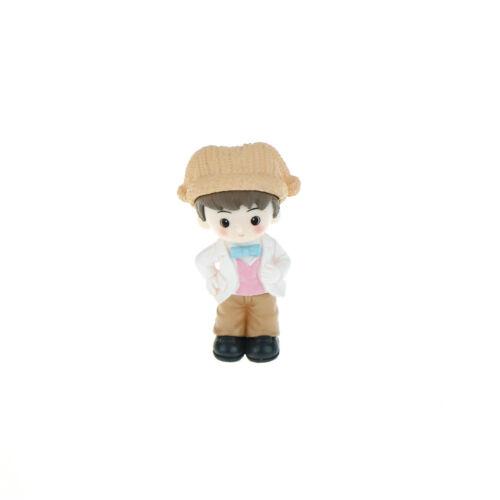 Couple with hat Resin Miniature Figurine Fairy Garden Decor Micro Landscape  HQ